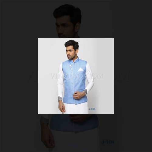 LIGHT BLUE COTTON LINEN NEHRU JACKET